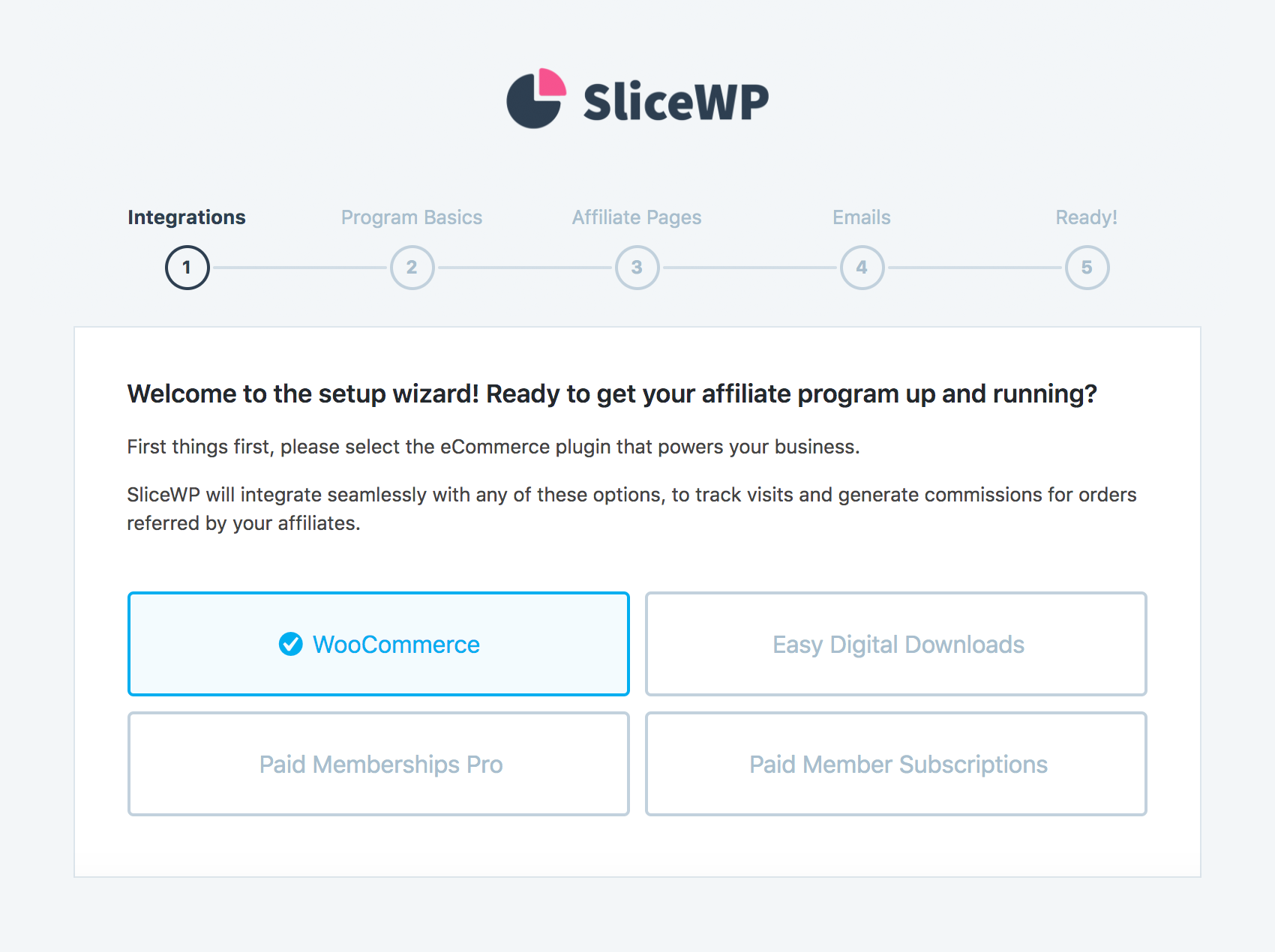The setup wizard of SliceWP, where you can select the basic settings for your affiliate program.