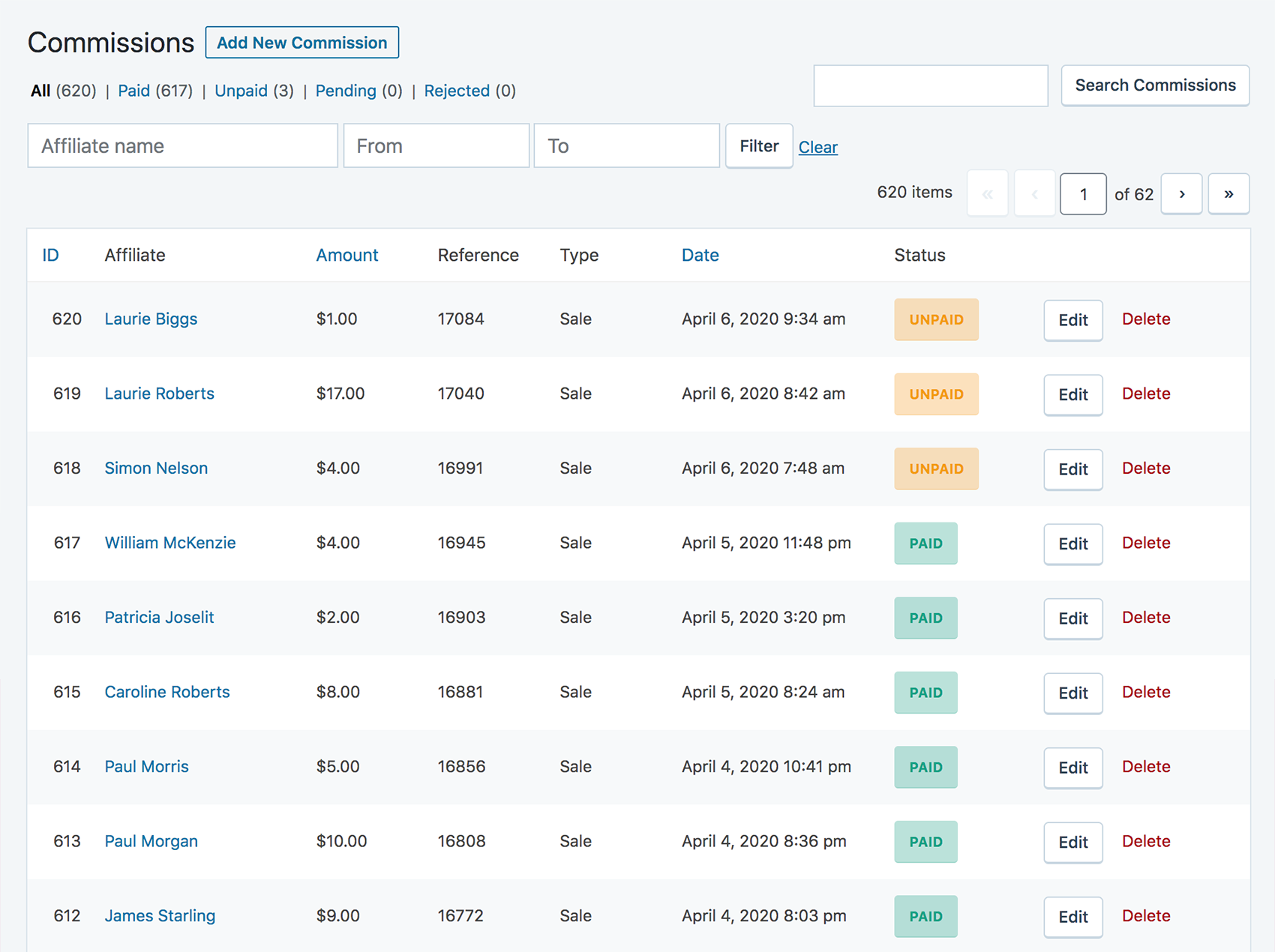 The commissions page in your WordPress administrator area, showin the latest commissions rewarded to your affiliates.