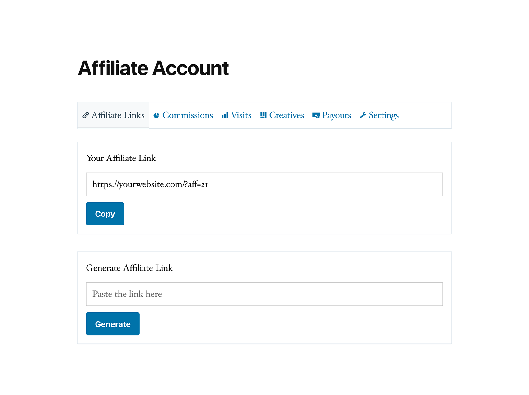 Affiliate account page, where affiliates can view their marketing performance.