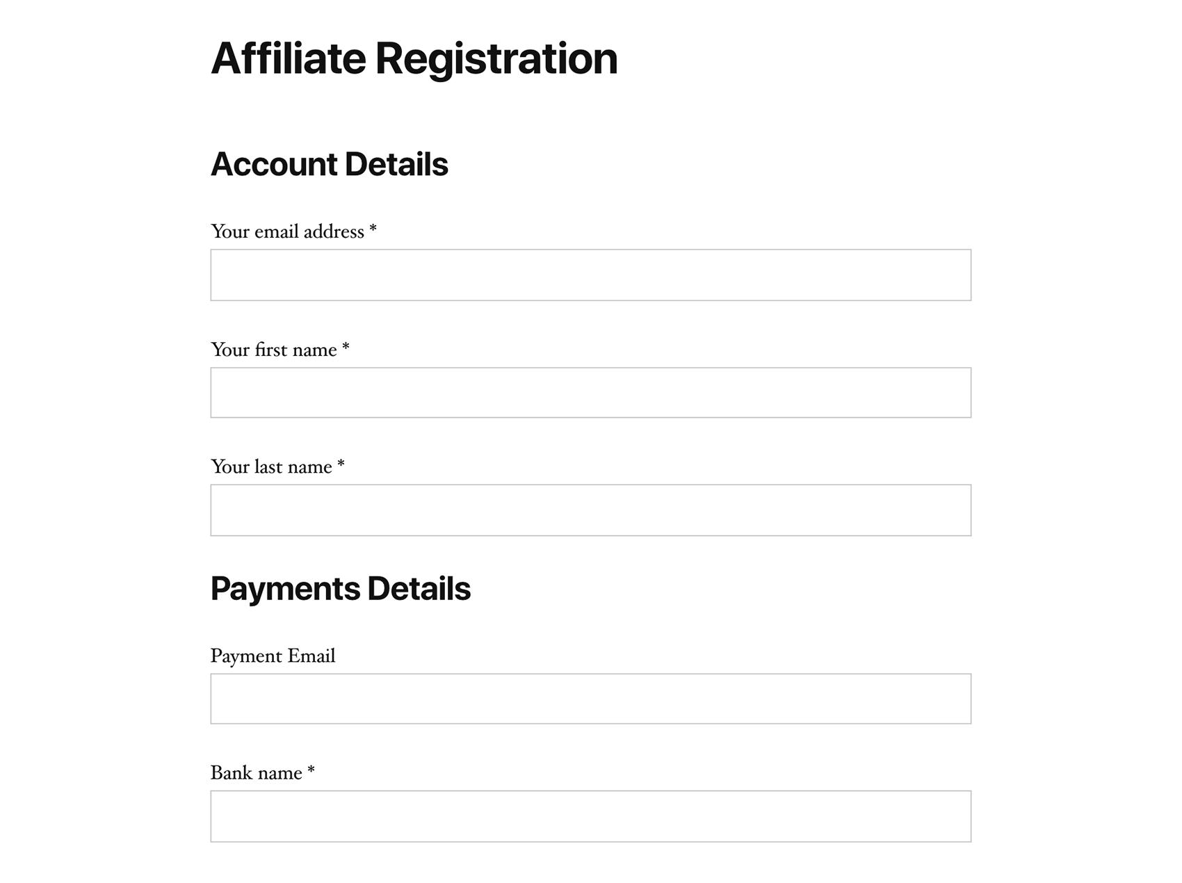 Affiliate registration form on a WordPress website, using SliceWP.