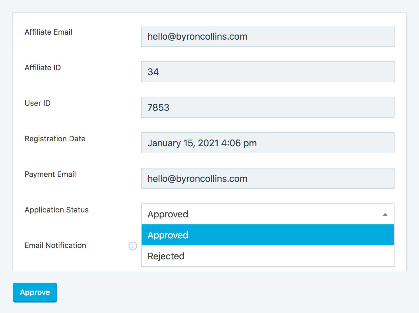 Affiliate approval page, as shown in the WordPress administrator account.