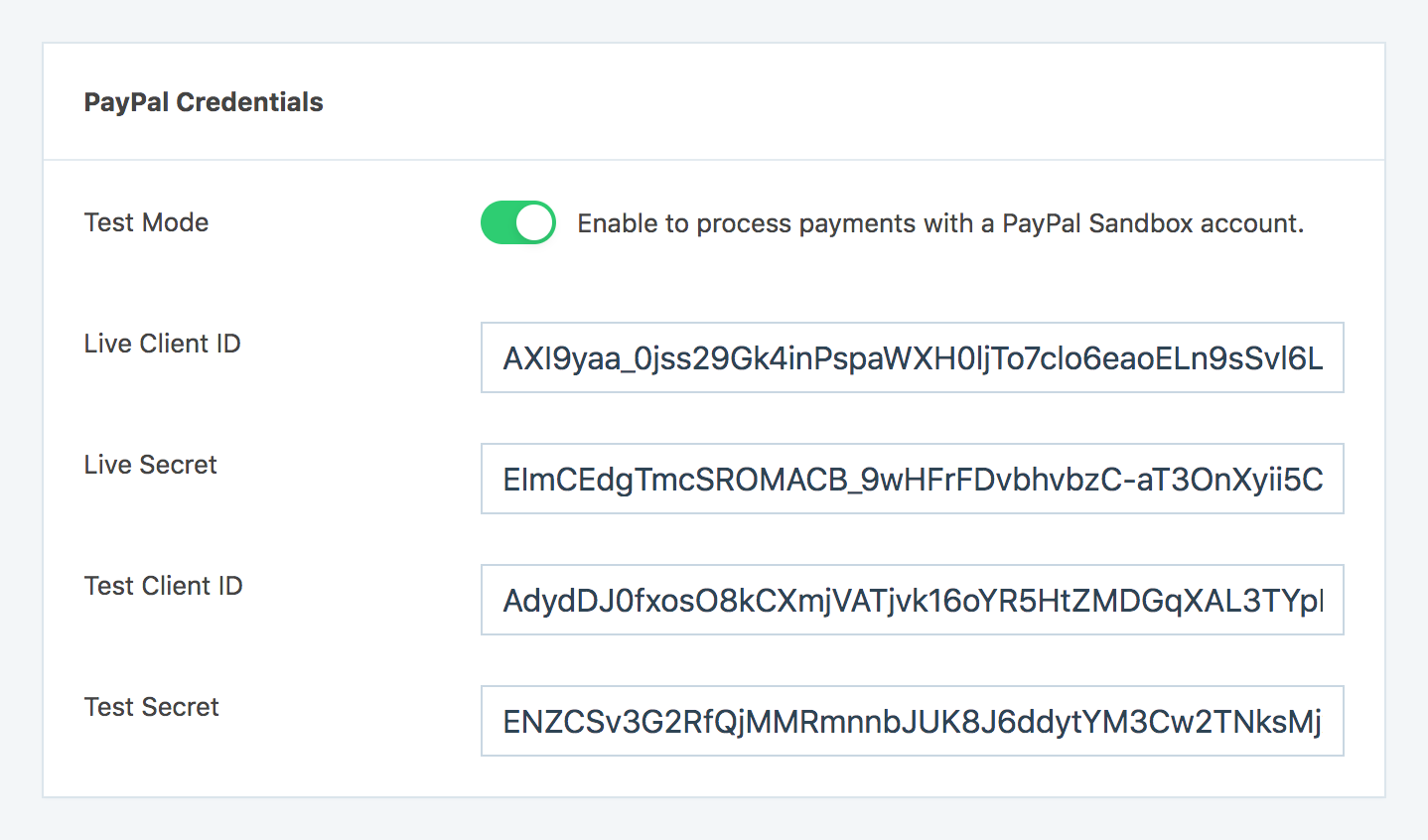 PayPal Credentials section in SliceWP settings page