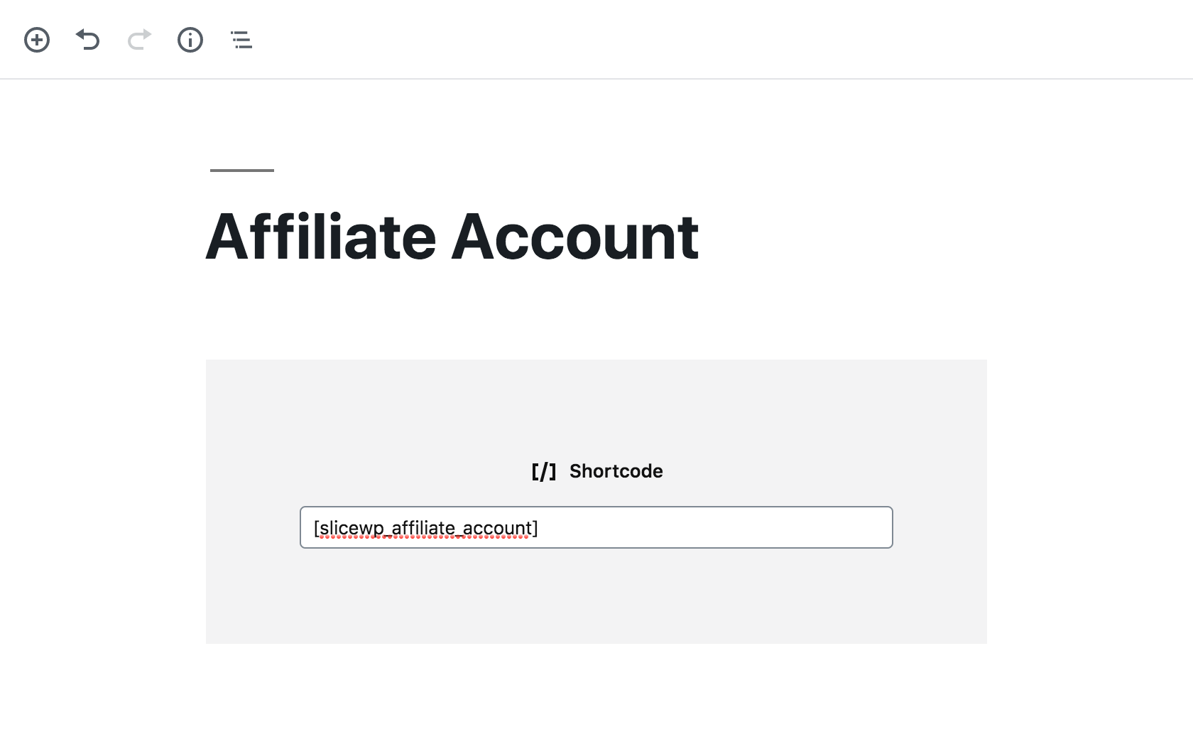 Example of an affiliate account page in WordPress' Gutenberg editor