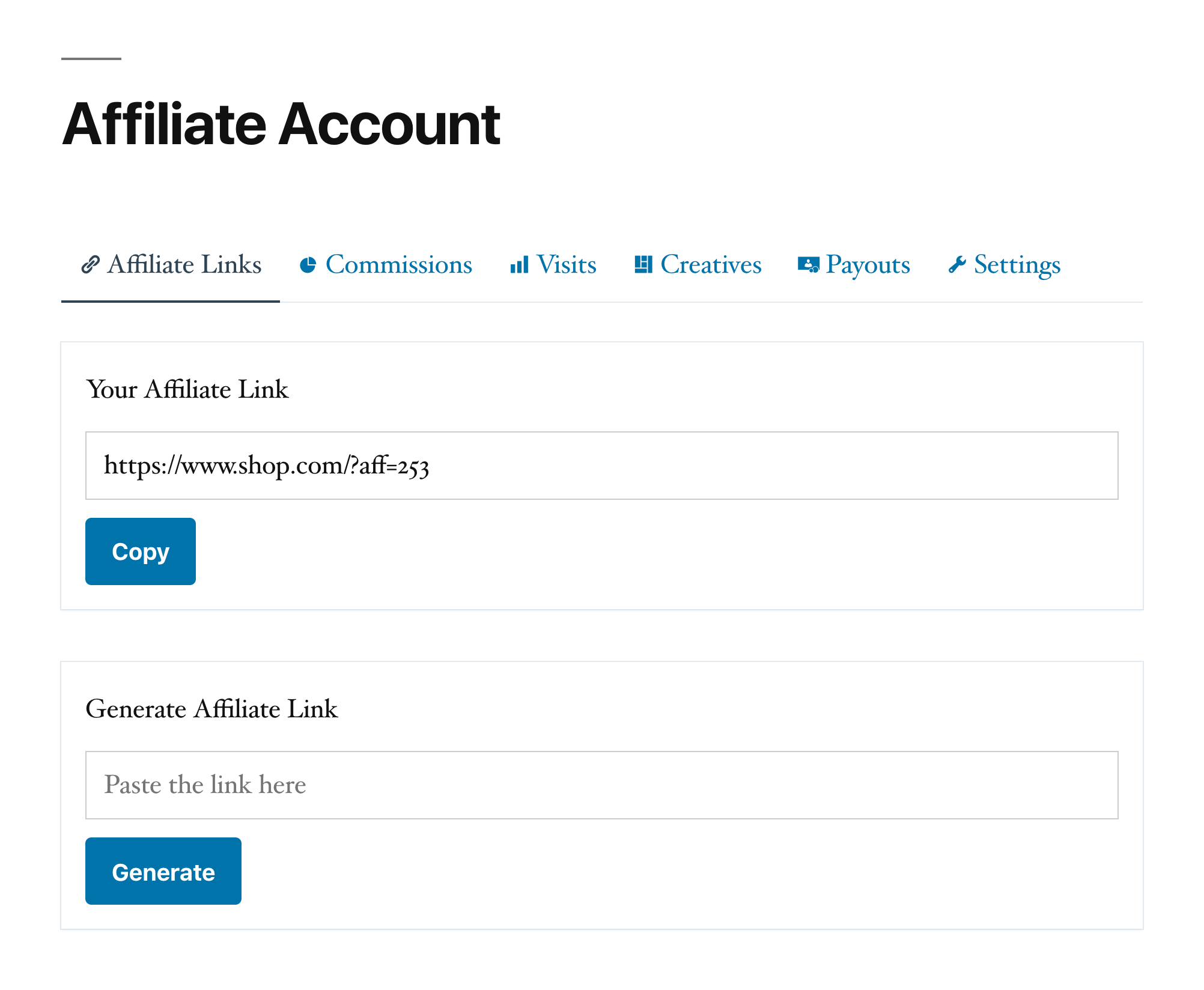 Example of affiliate account page shown to affiliate partners