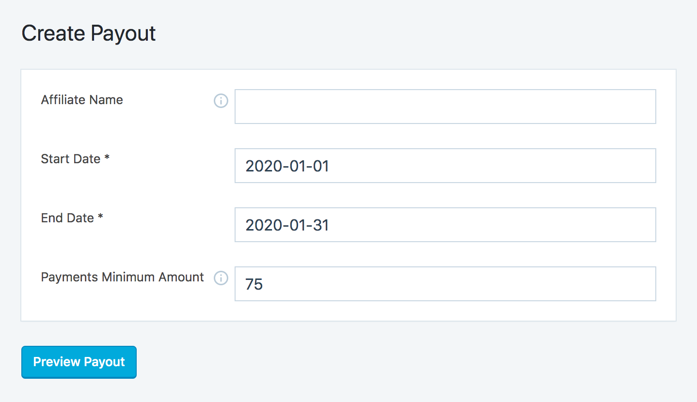 Create a new payout administrator page in SliceWP