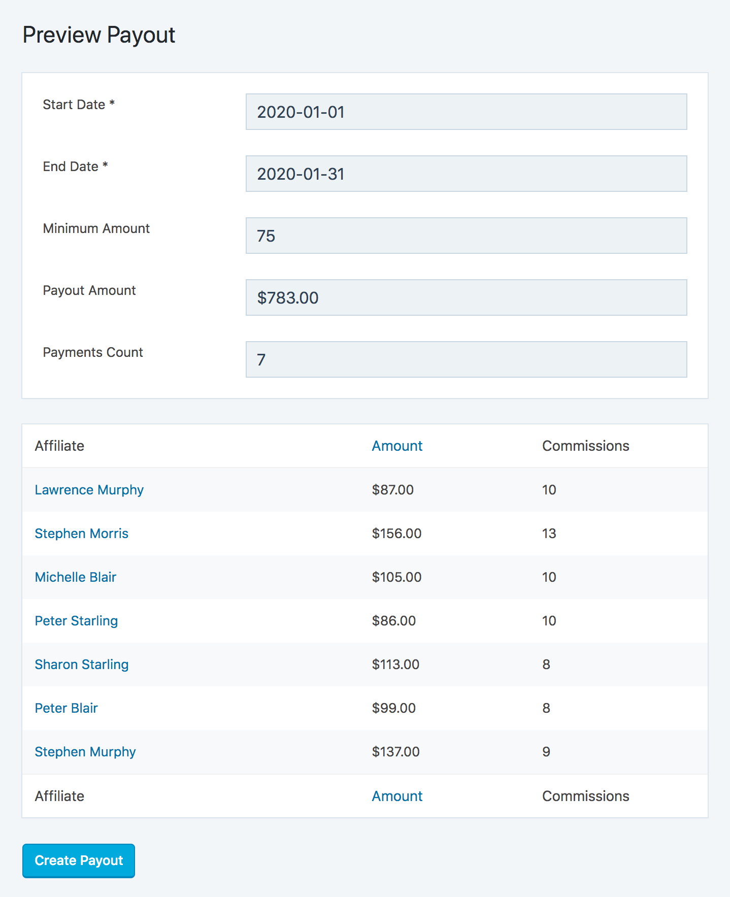 SliceWP preview payout page with generated affiliate payments