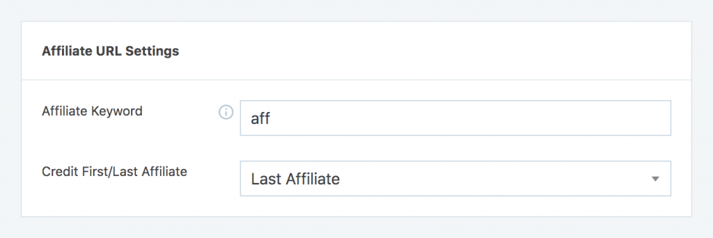 Affiliate keyword settings option from SliceWP administrator area