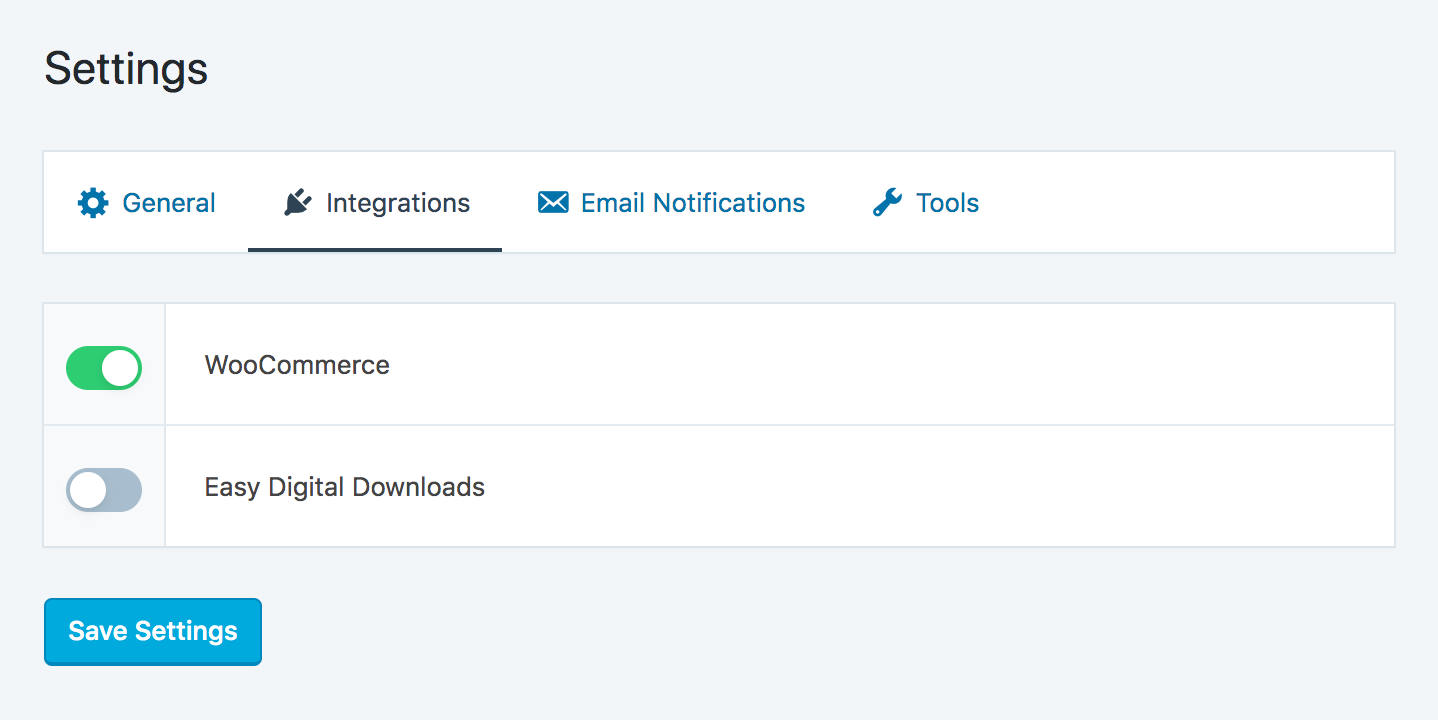 Affiliate program WooCommerce integration enable switch in SliceWP administrator area