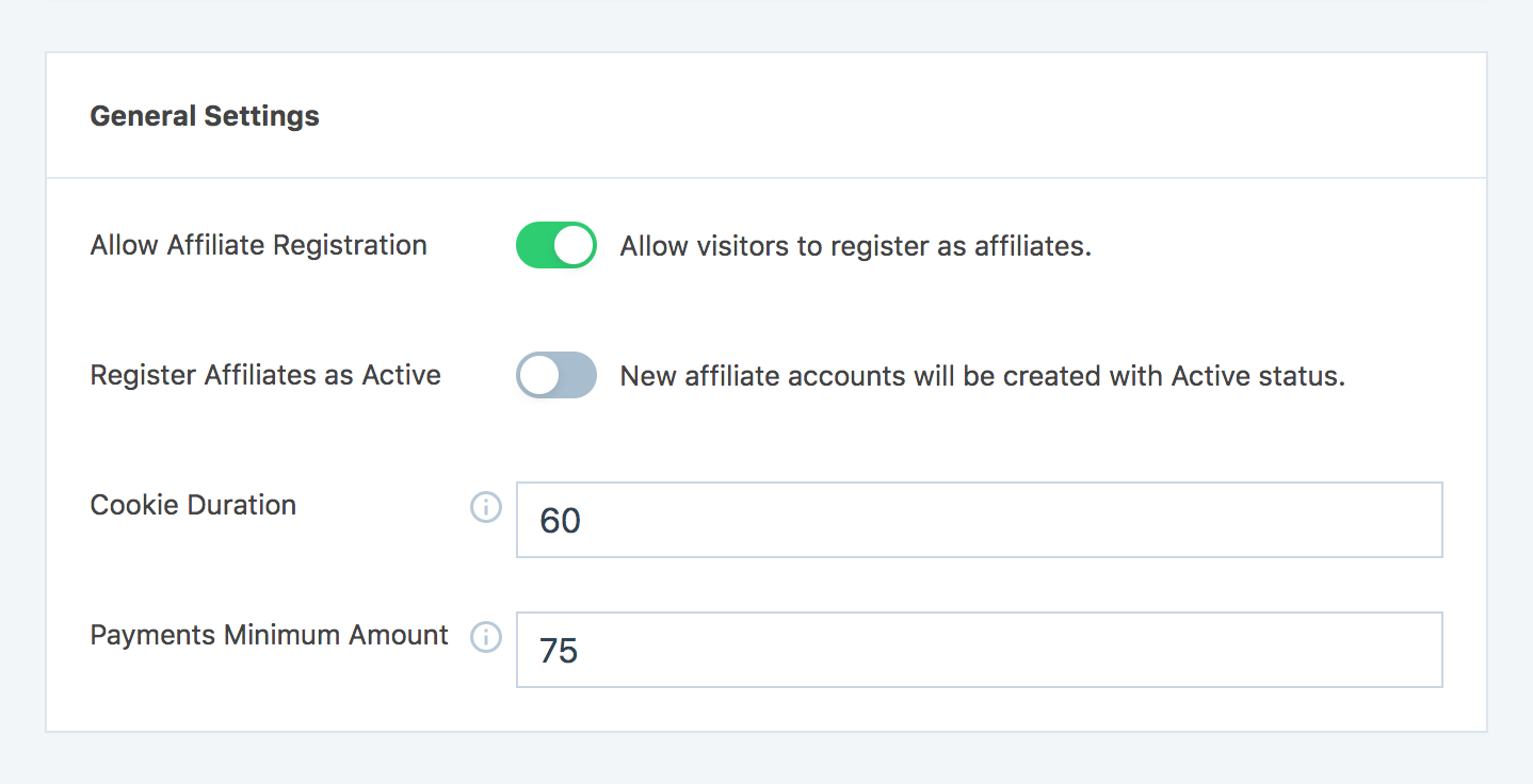 Allow affiliate registration option from SliceWP general settings