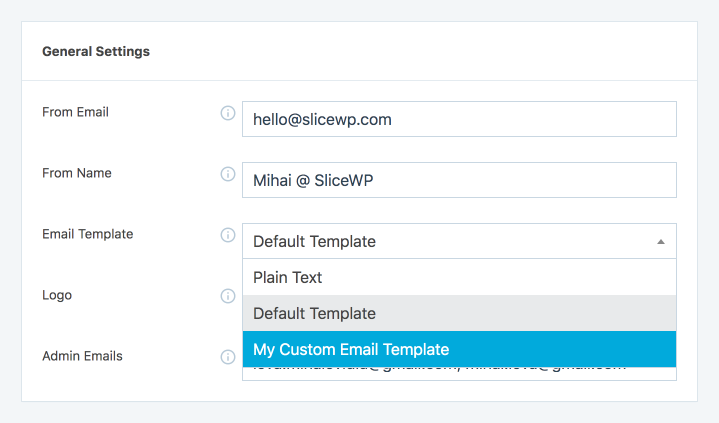 custom template selection in affiliates program management plugin