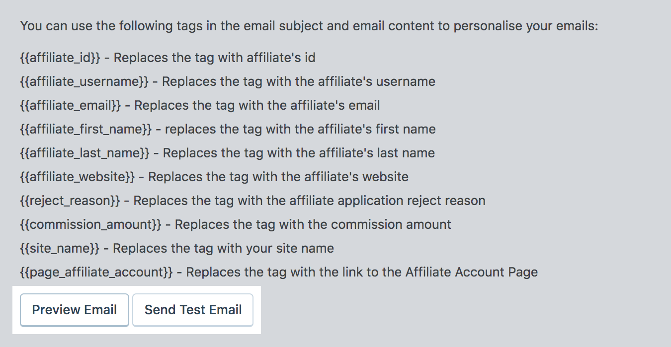 email notification meta tags for affiliate program
