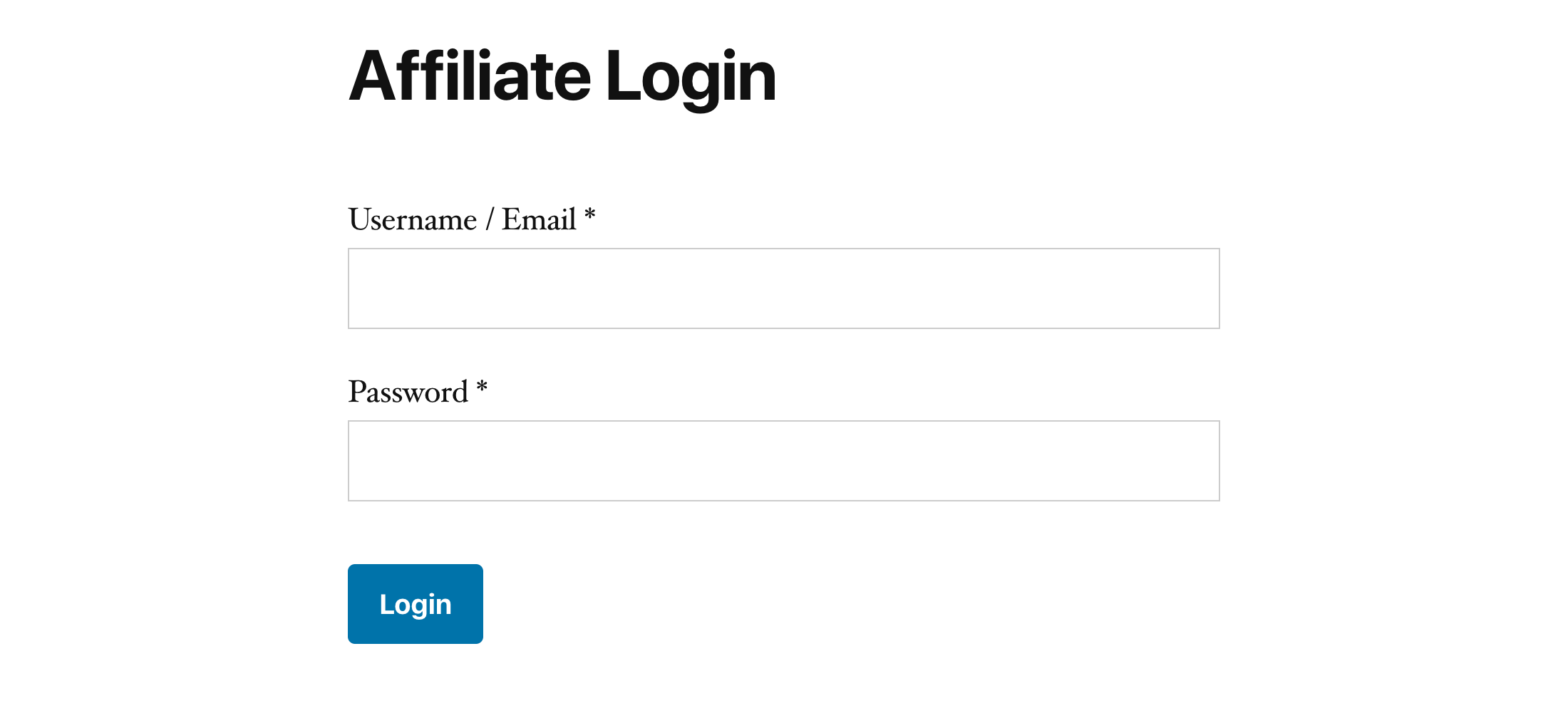 Affiliate login form design on visitor side