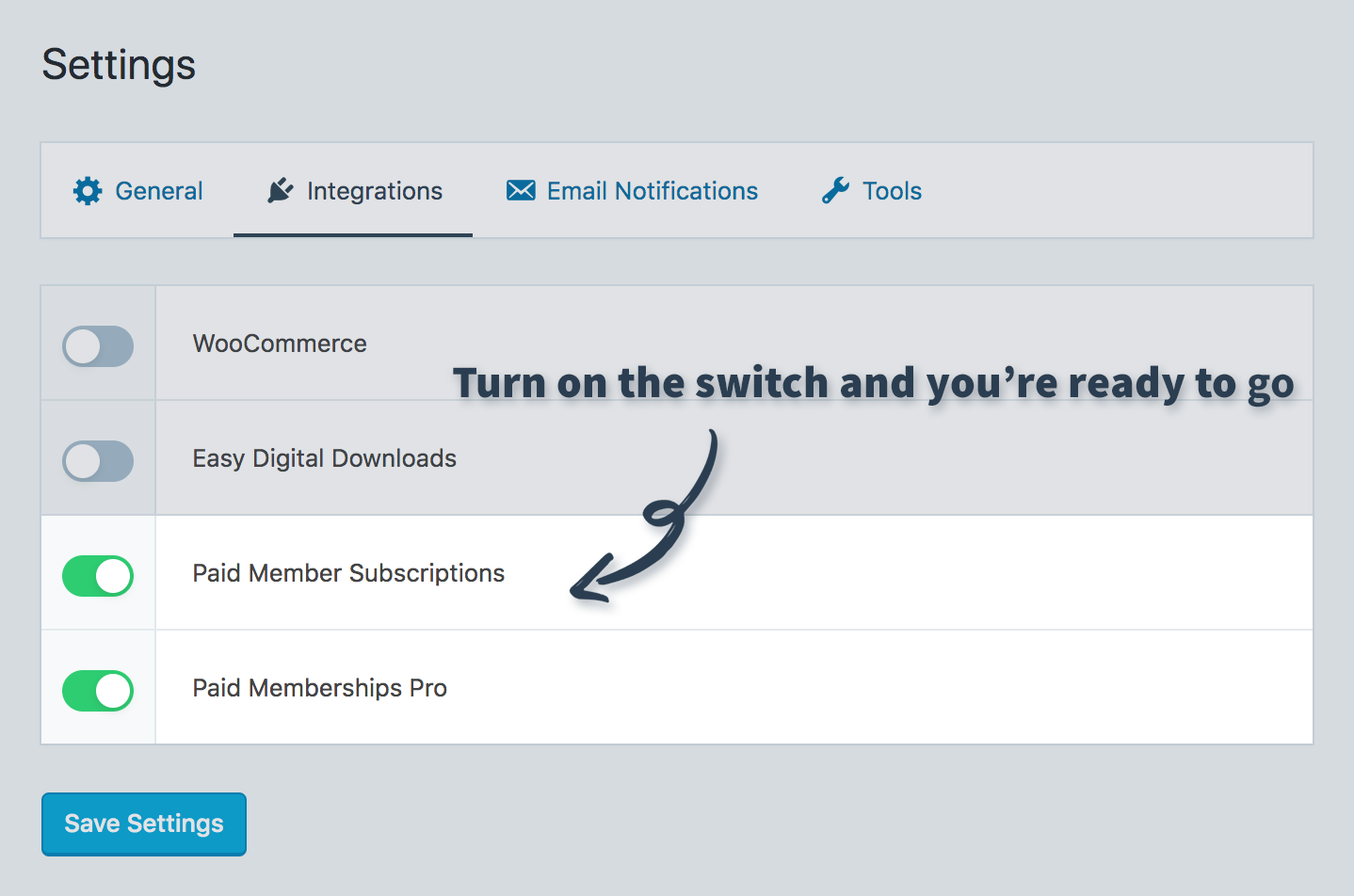 Enable Paid Member Subscriptions and Paid Memberships Pro integrations in SliceWP