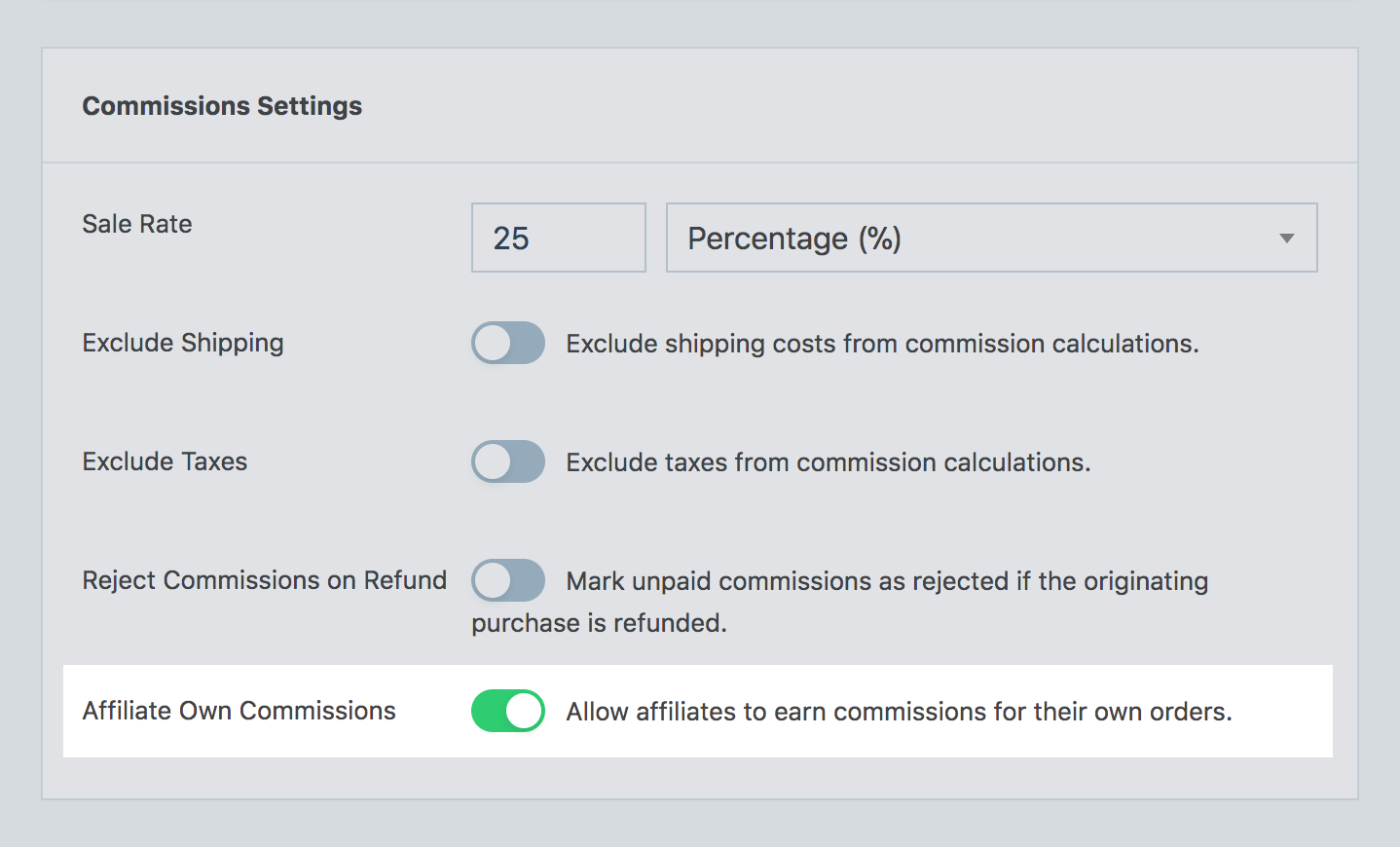 Affiliate Own Commissions option from SliceWP settings page