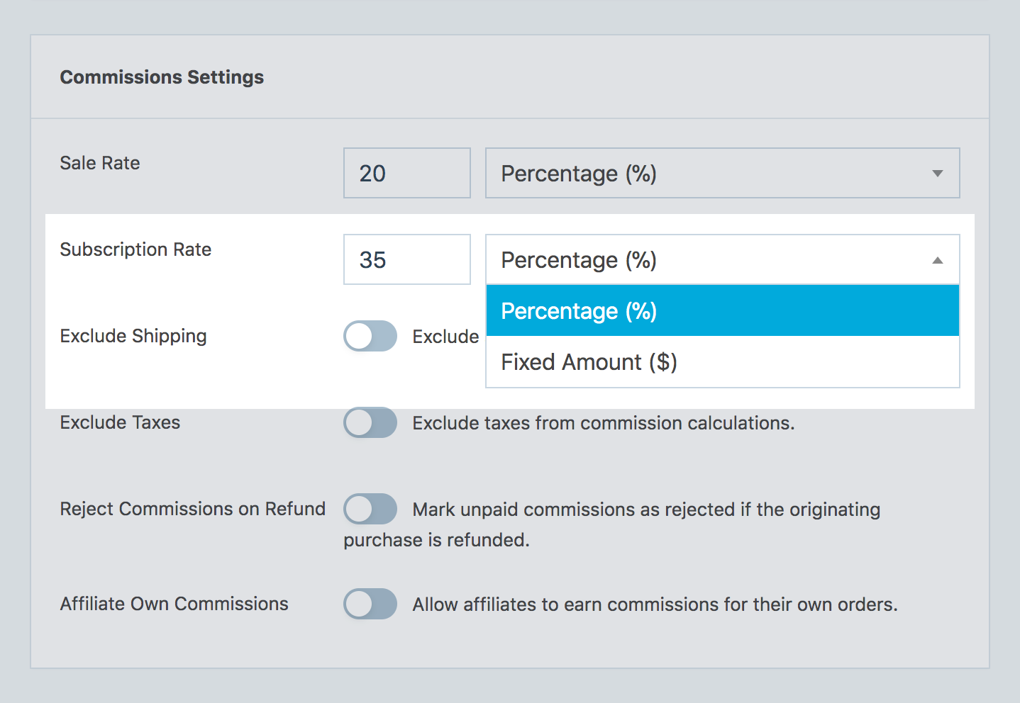 Subscription commission type in SliceWP general settings.