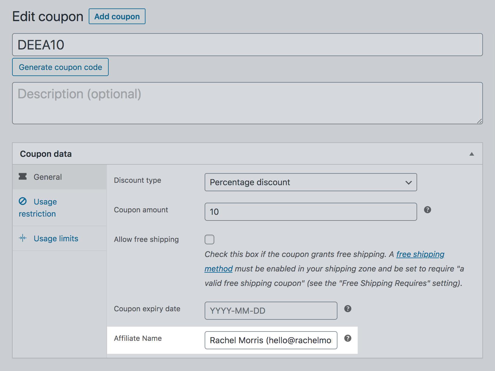 SliceWP affiliate name field in WooCommerce discount code