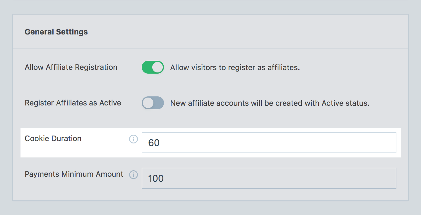 Setting up the cookie duration for the affiliate program in SliceWP