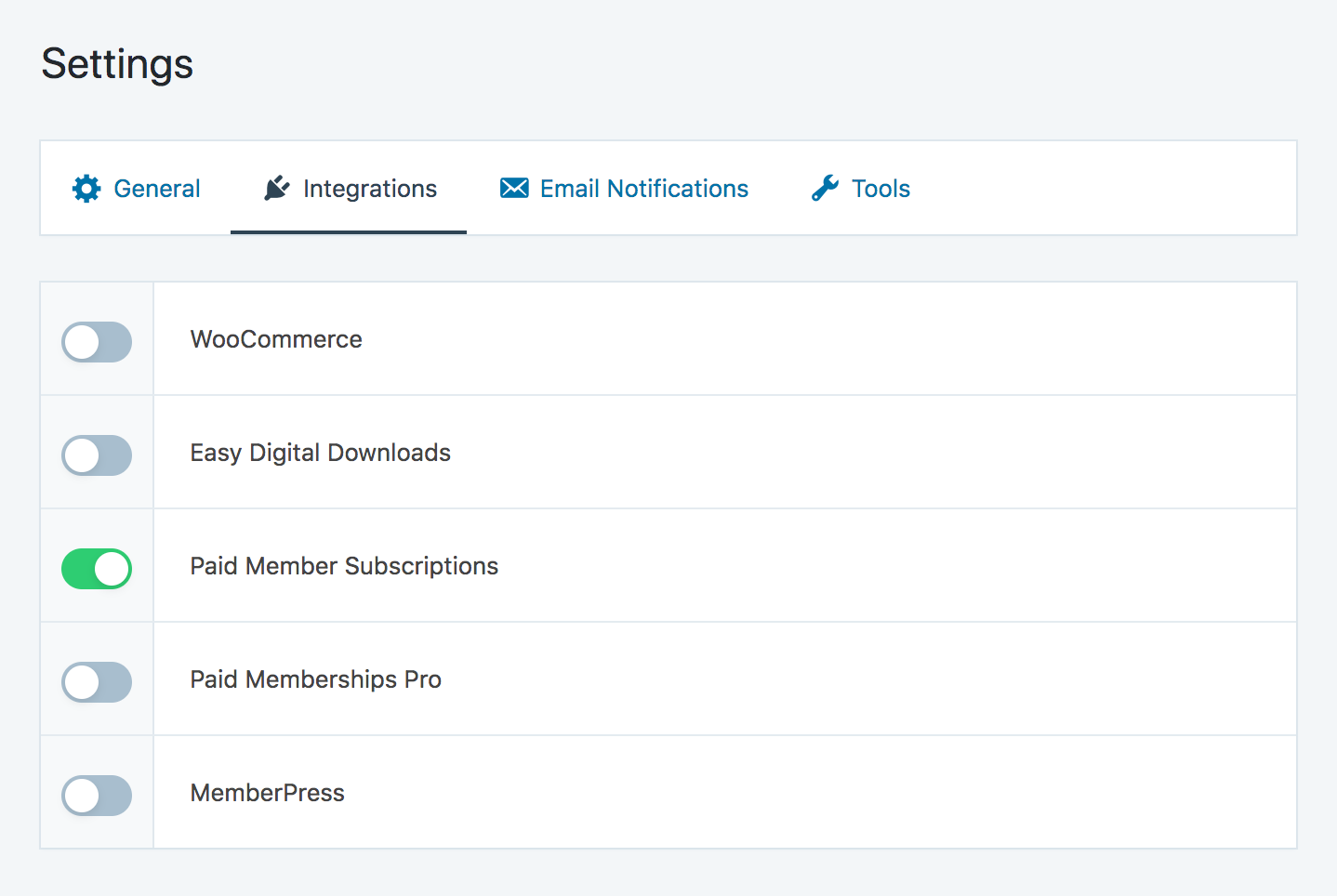 Enabling Paid Member Subscriptions integration from SliceWP general settings page.