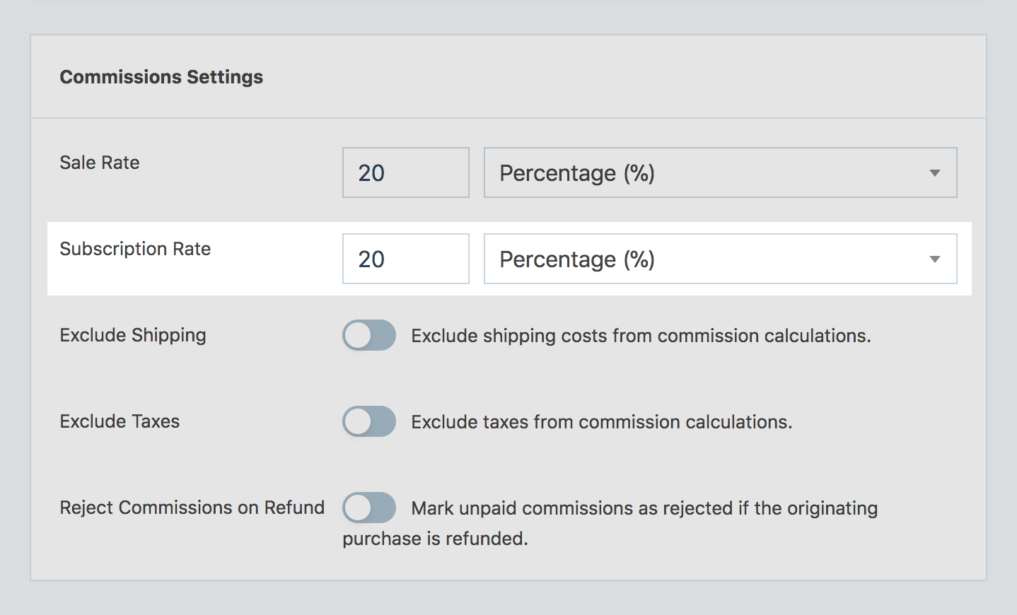 Subscription commission rates in SliceWP general settings.