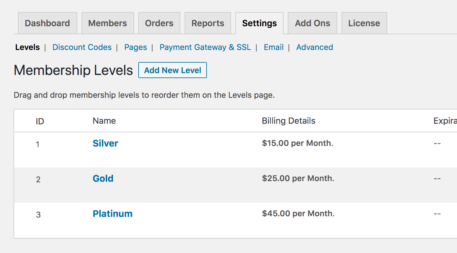 Paid Memberships Pro membership levels settings page.
