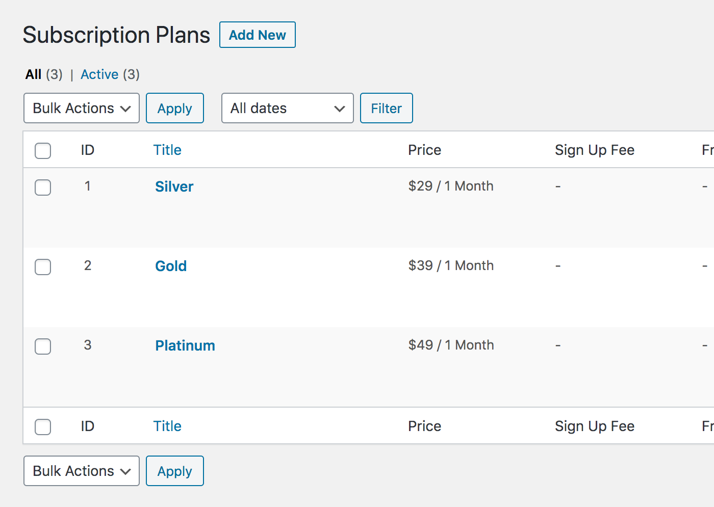 Subscription plans list in Paid Member Subscriptions.