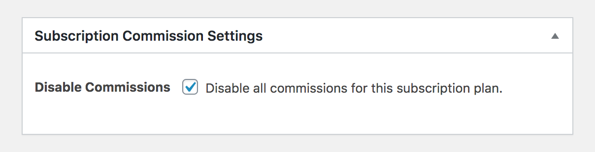 Disable commissions for a particular subscription plan in Paid Member Subscriptions.