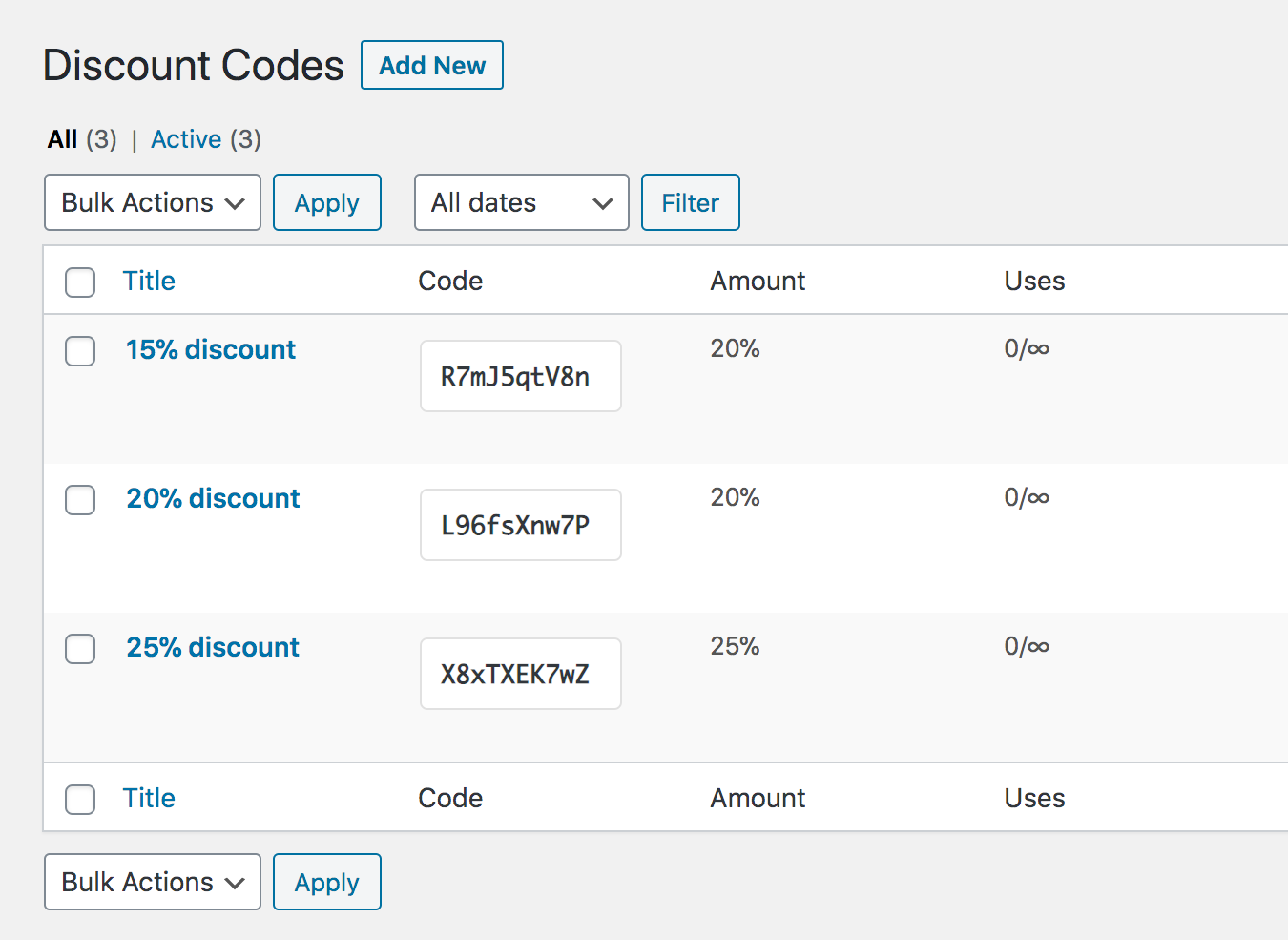 Discount codes screen in Paid Member Subscriptions.