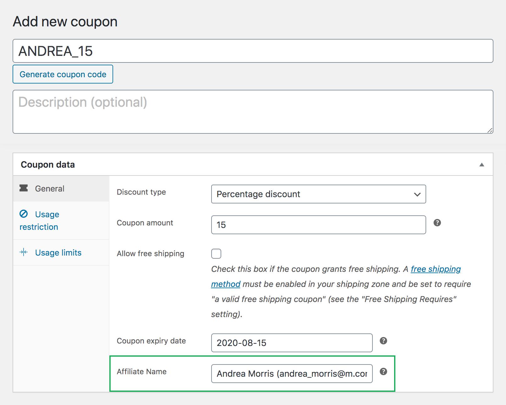 SliceWP add new WooCommerce affiliate coupon