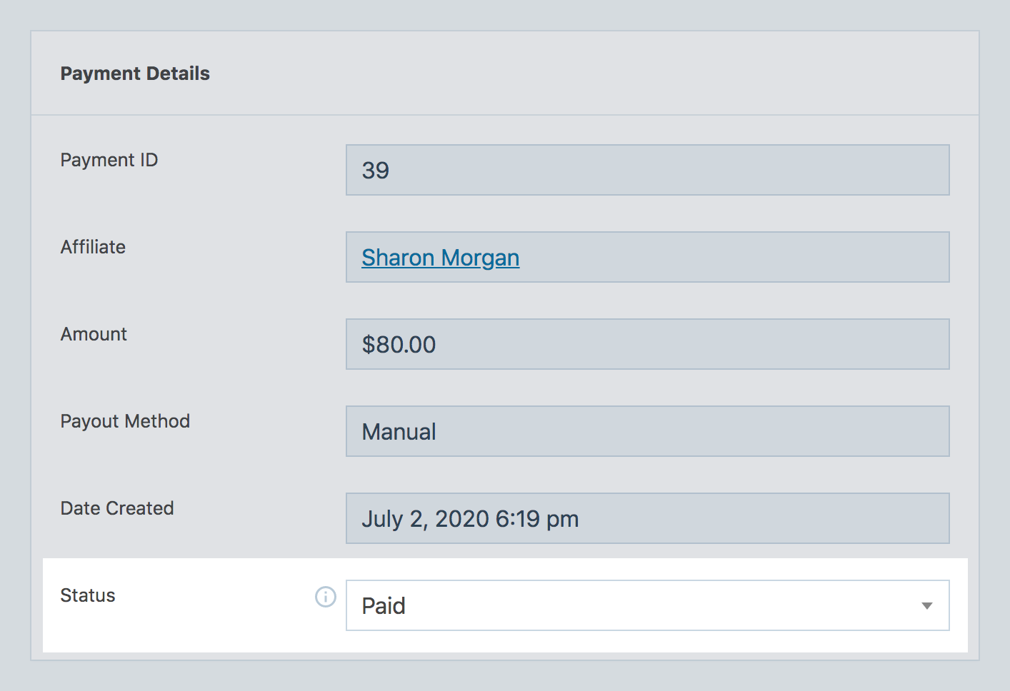 SliceWP payment status field.