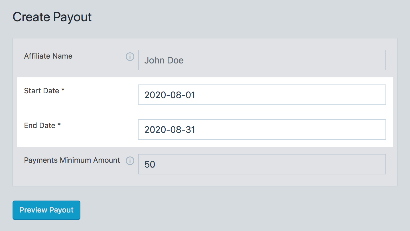SliceWP create payout page in WordPress dashboard