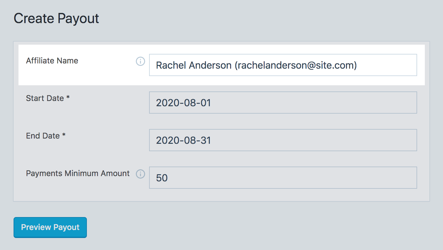 Affiliate name field in SliceWP create payout page in WordPress dashboard