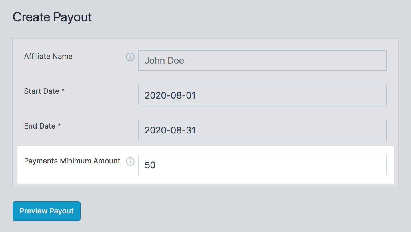 Payments minimum amount field in SliceWP create payouts