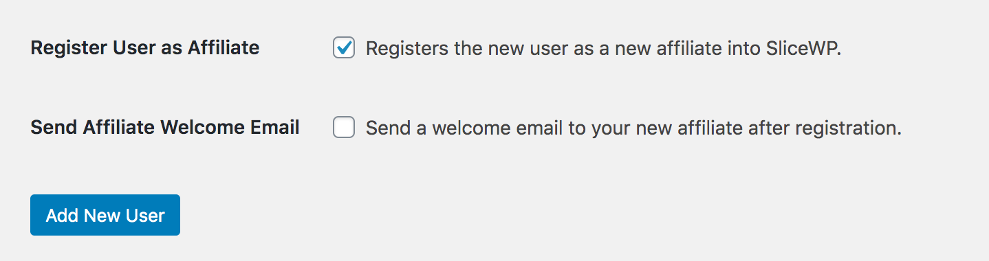 Add new affiliate option fields in SliceWP from WordPress add new user screen.