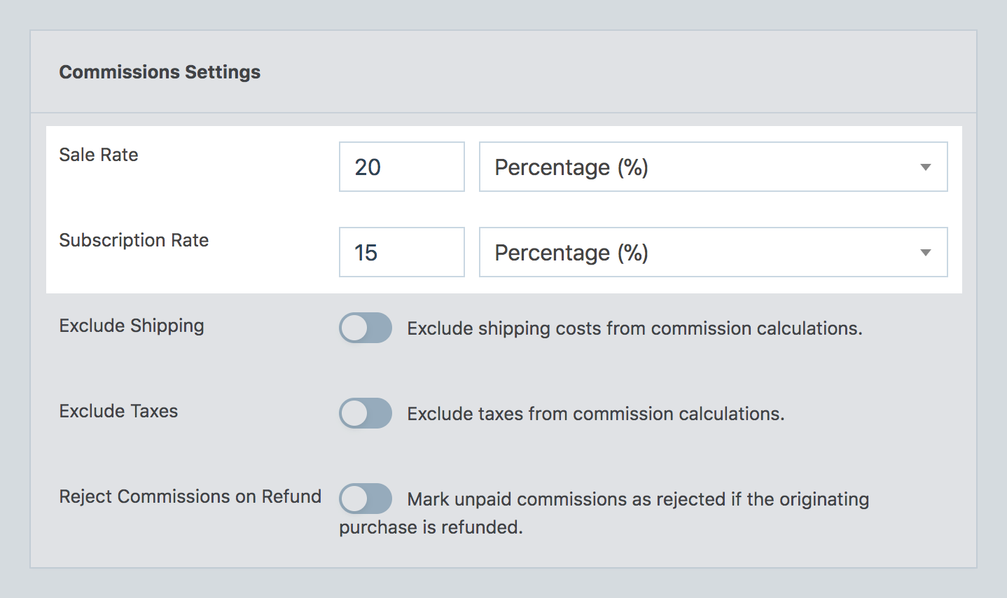 Sale and subscription commission rate settings options in SliceWP's setting admin page.