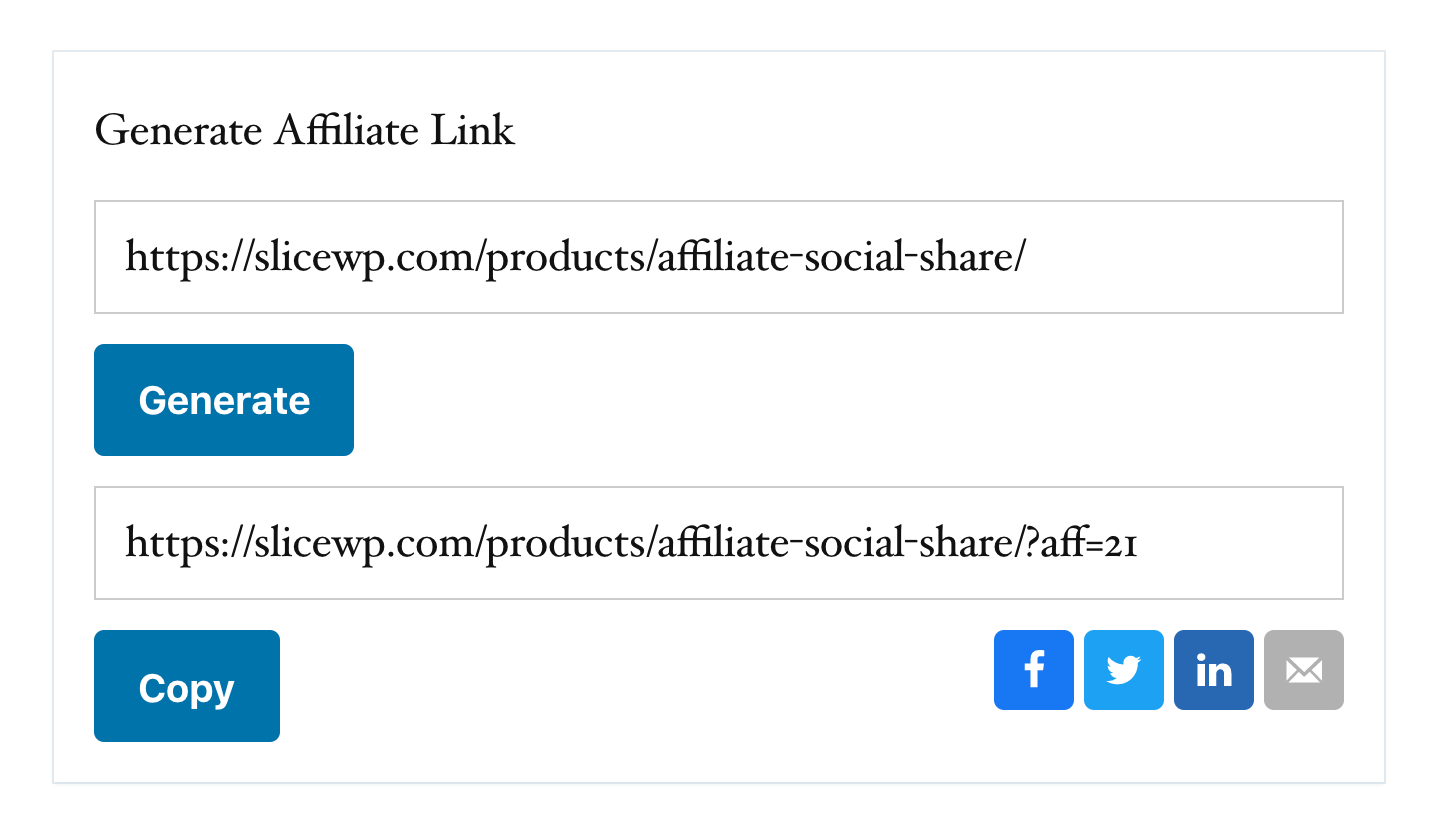 The affiliate social sharing buttons for the affiliate's custom generated promotional link.