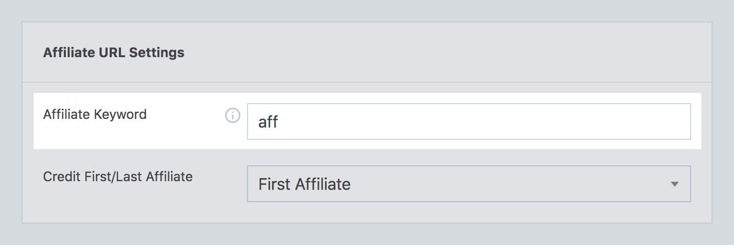 Affiliate keyword option in SliceWP settings.