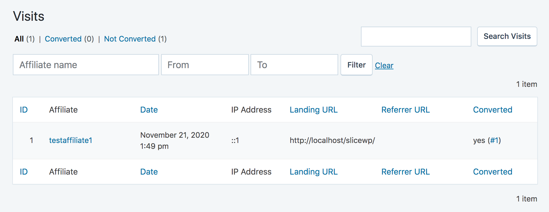 SliceWP visits list table with a converted visit