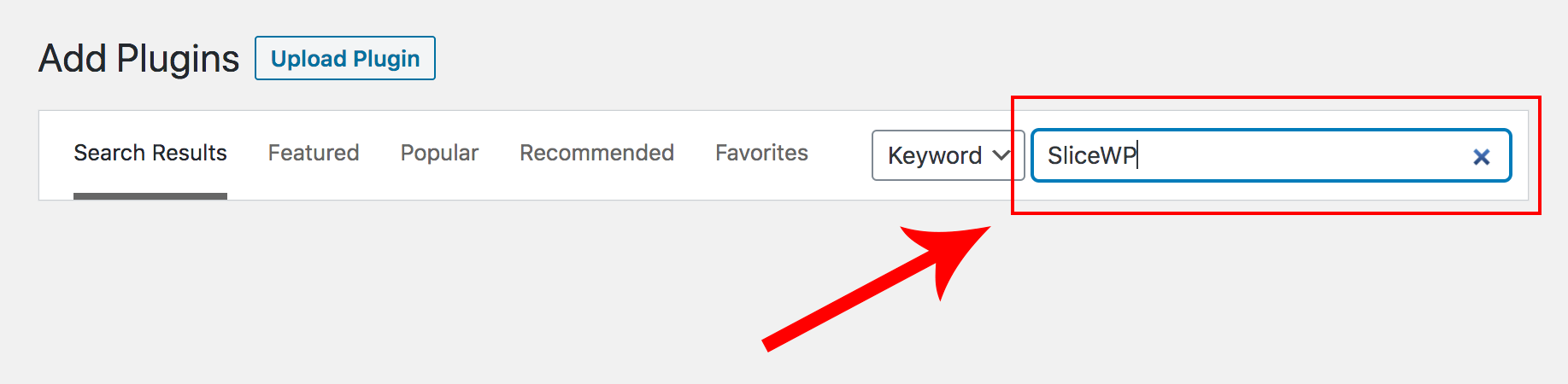 Searching for SliceWP when adding a new plugin in WordPress.