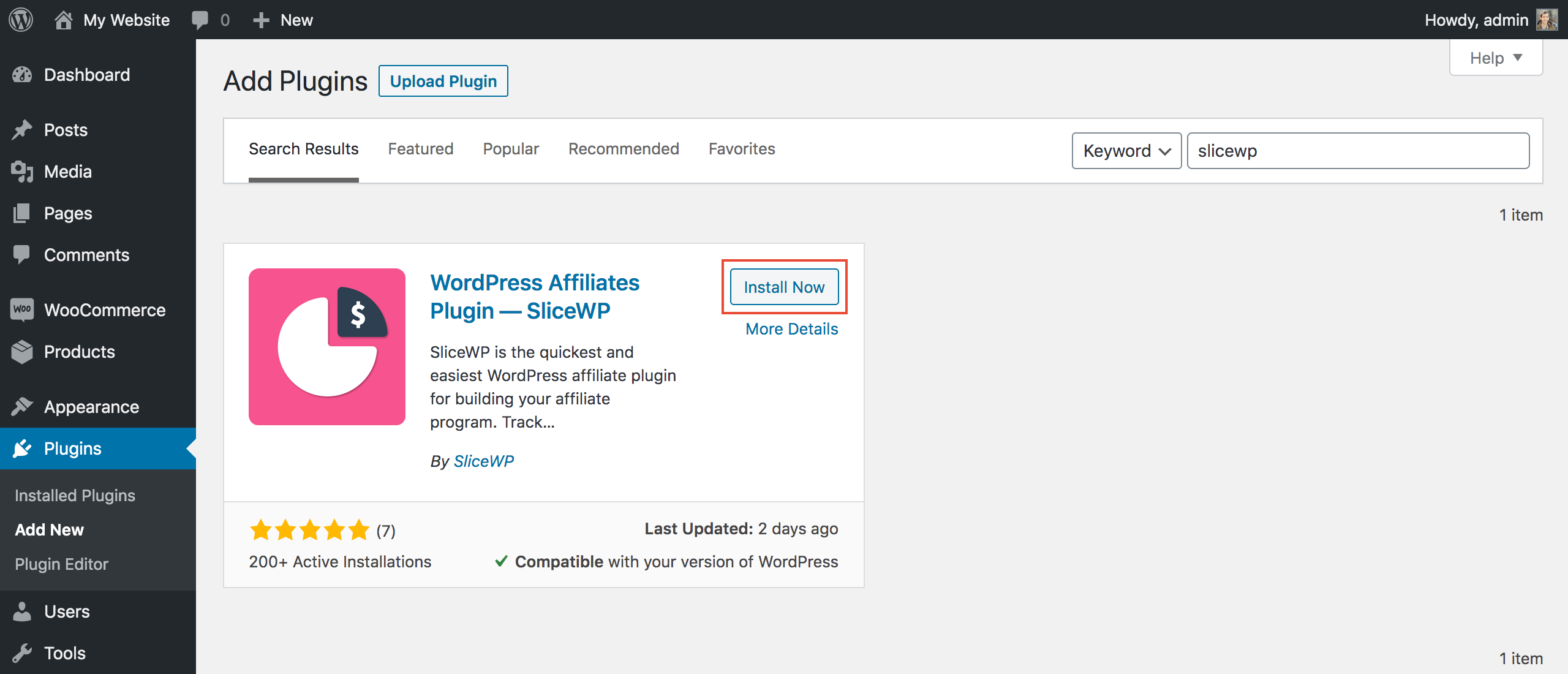 Installing SliceWP from WordPress' add new plugin admin page.