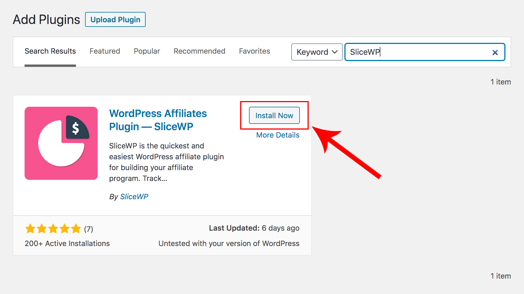 Installing SliceWP from the WordPress plugins page.