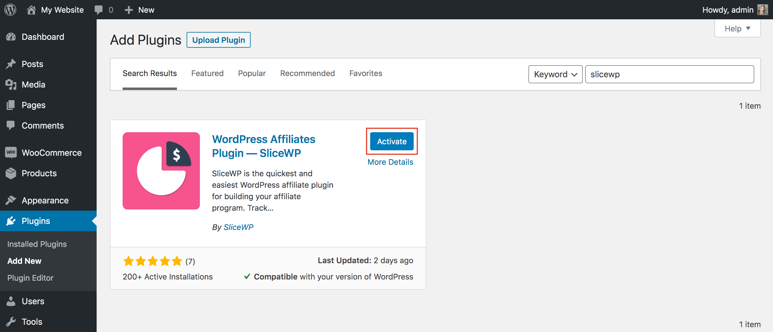 Activating SliceWP from WordPress' add new plugin page.