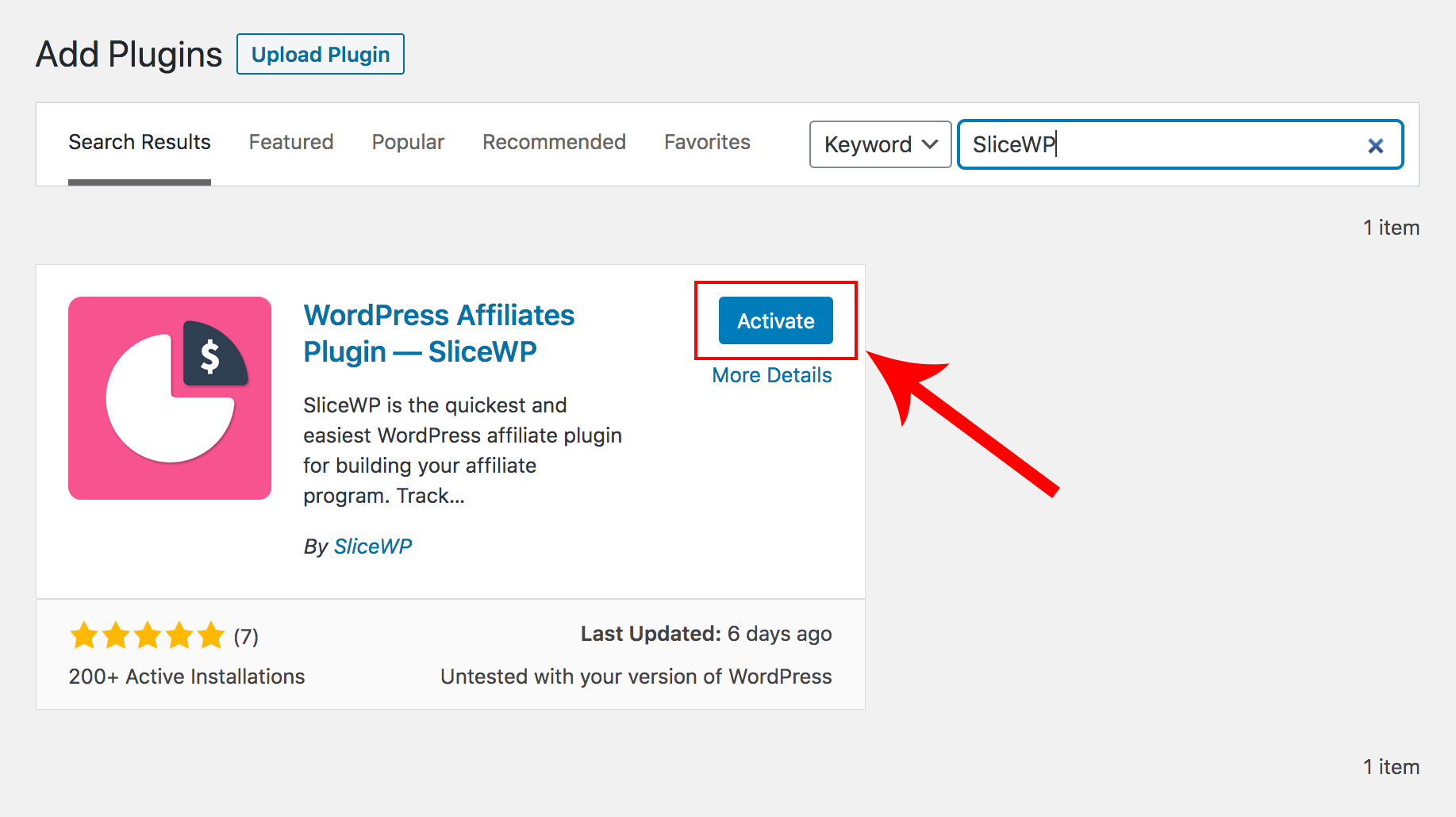 Activating SliceWP affiliate plugin for WooCommerce.