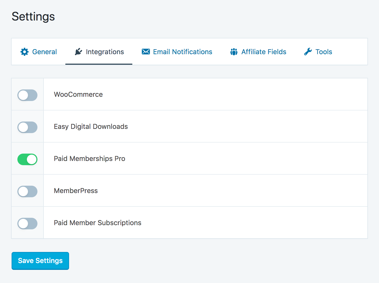 Enable Paid Memberships Pro integration in SliceWP settings page