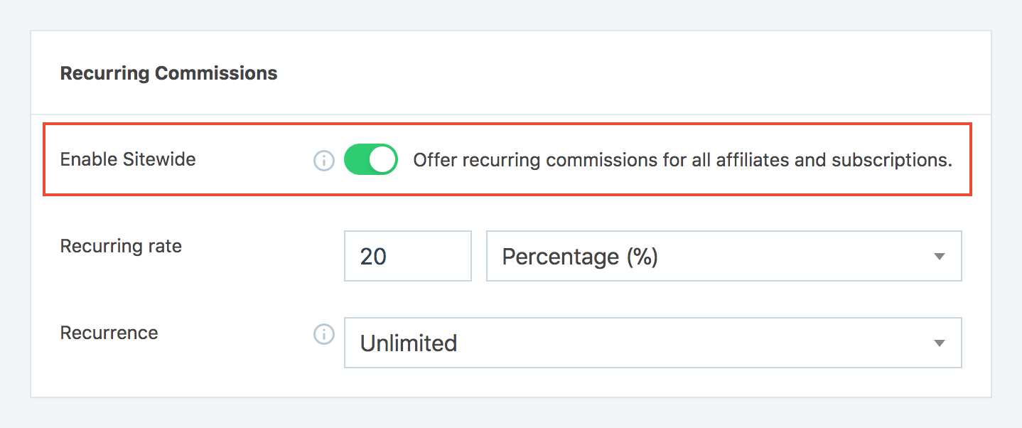 Enable Sitewide recurring commissions in SliceWP settings