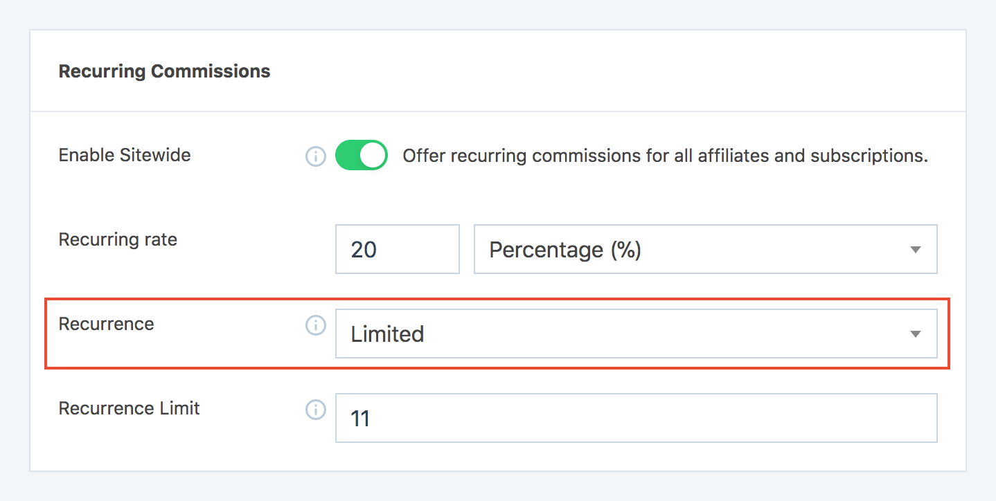 Set recurrence type in SliceWP settings page for recurring commissioms.