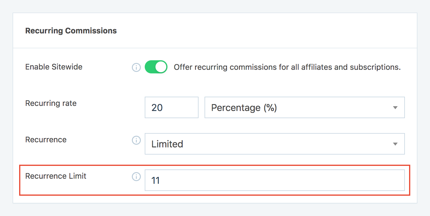Set recurrence limit option in SliceWP settings for recurring commissions
