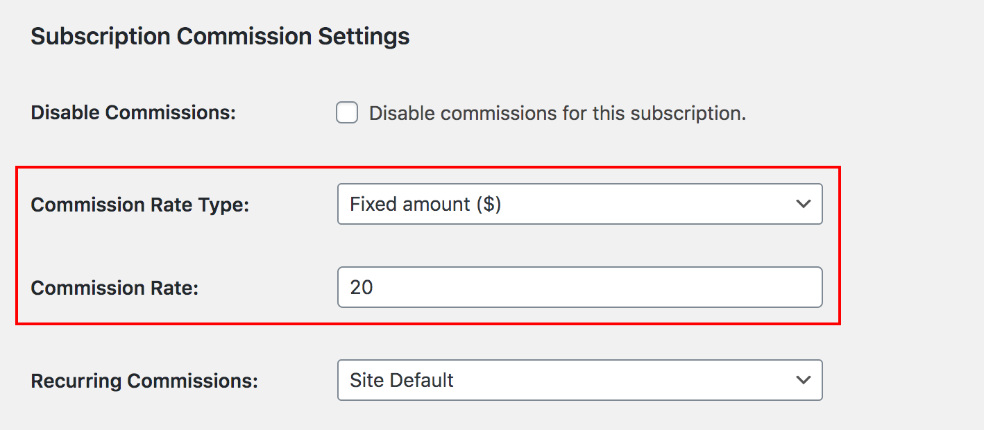 Subscription commission rate options in Paid Memberships Pro edit level page.