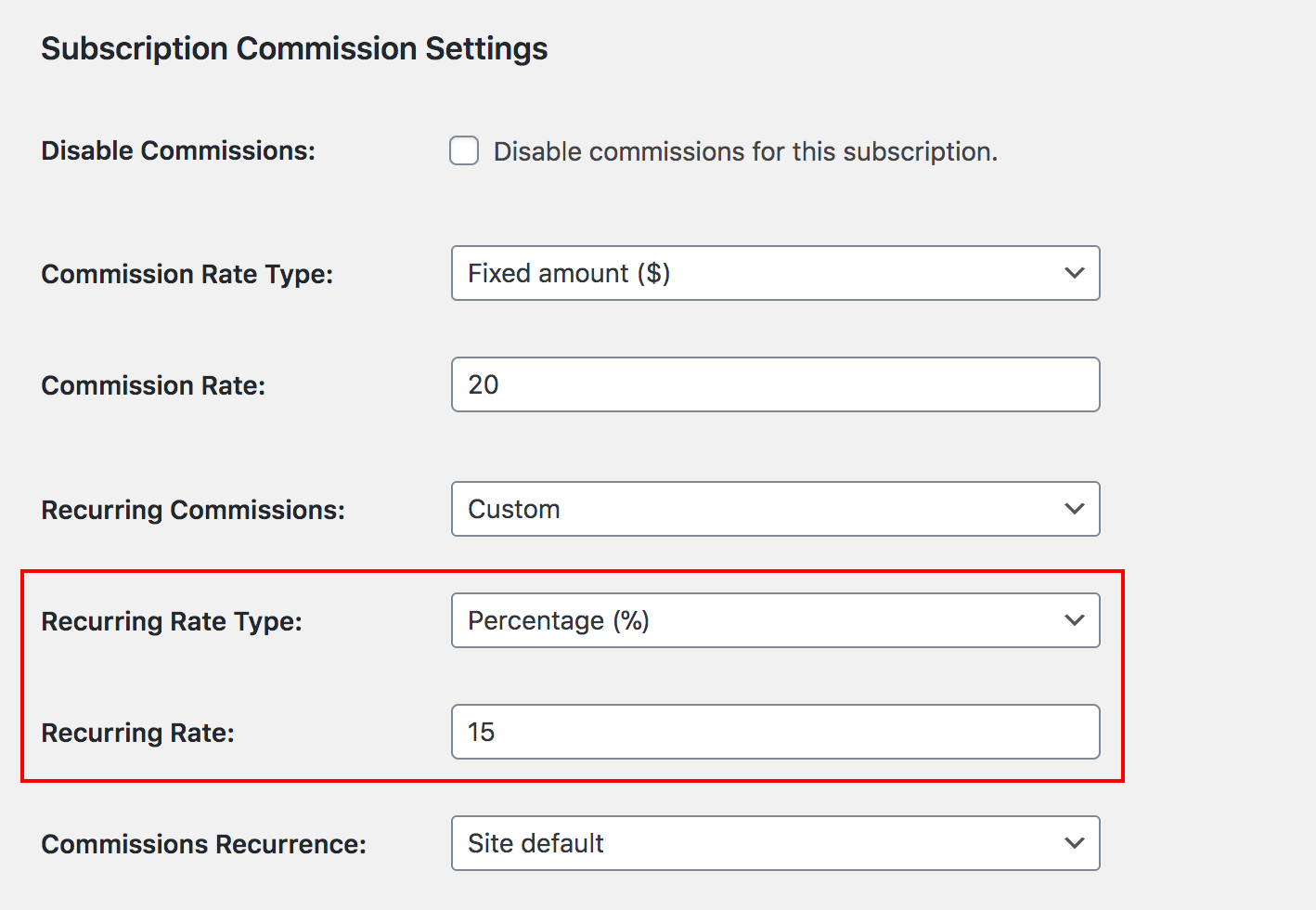 Recurring commission rate options in Paid Memberships Pro membership level settings page.