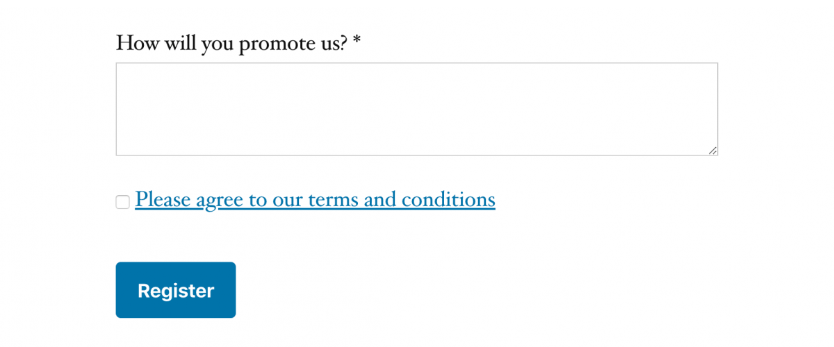Terms and Conditions agreement checkbox as shown in the affiliate registration form.