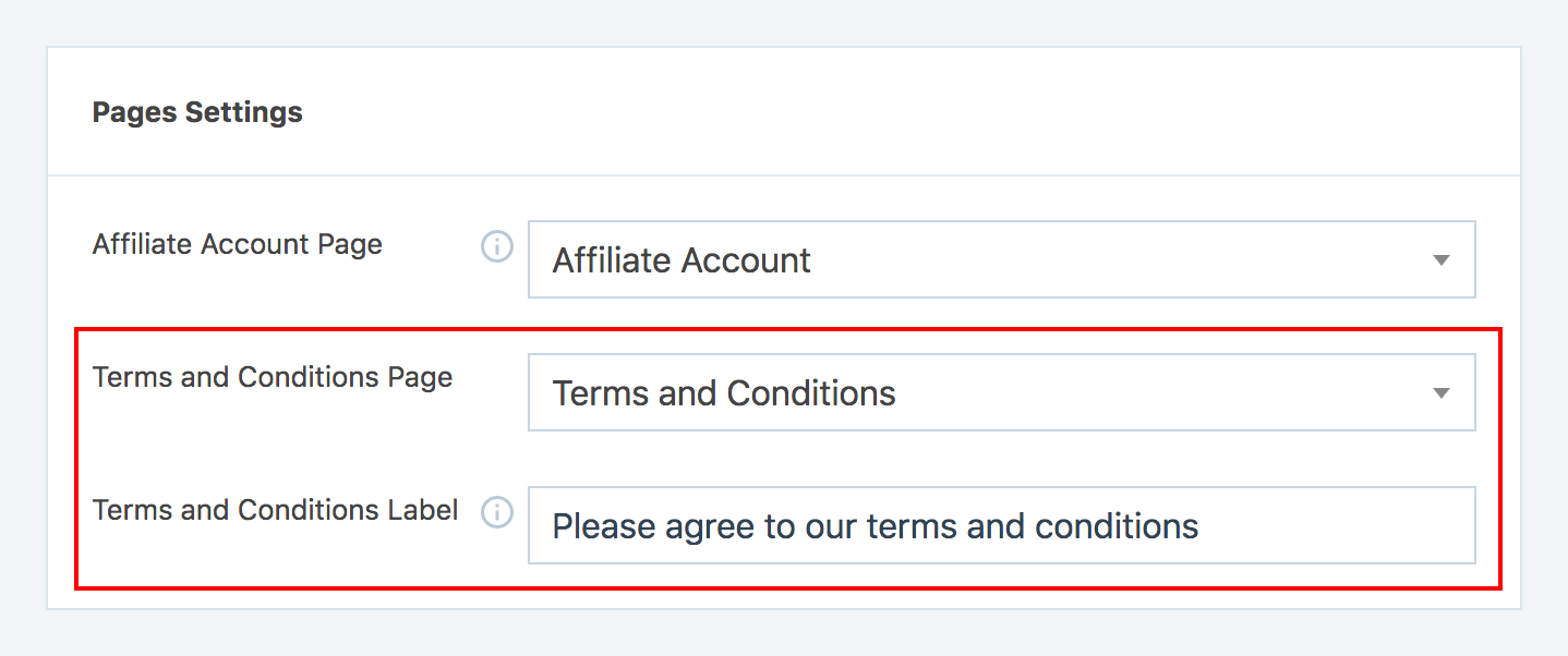 The terms and conditions page settings options in SliceWP.